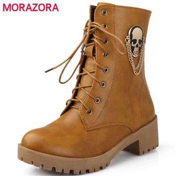 New women fashion boots large size 34-40 skull street round toe lace-up ankle boots