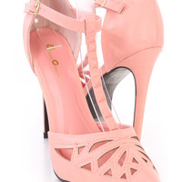 Pink Studded T Strap Single Sole Heels Faux Leather