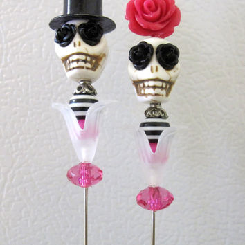 Rockabilly Hot Pink Day of the Dead Cake Topper Sugar Skull Gothic Wedding Pin Bride Groom