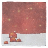 Red Christmas Stone Coaster