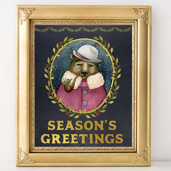 Seasons Greetings, Christmas prints, bear, printable, cards, decor, xmas cards, decorations, Christmas wall art, sign, instant download