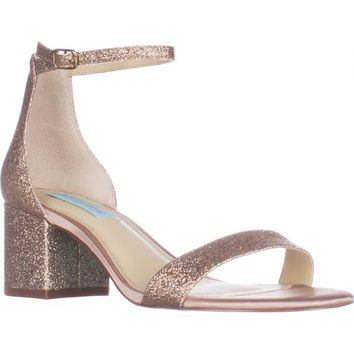 Blue Betsey Johnson Miri Ankle Strap Evening Sandals, Champagne Glitter, 7 US