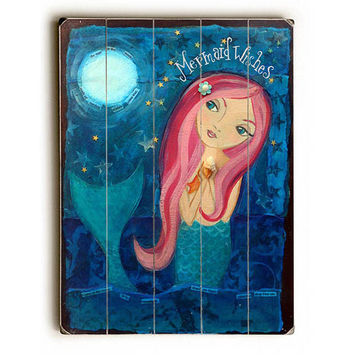 Mermaid Wishes by Artist Heather Rushton Wood Sign