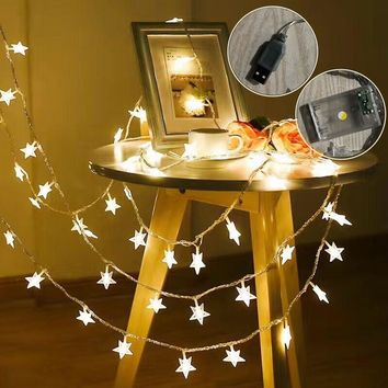 USB 3M 20 Led Stars Holiday Lights String Battery Powered Fairy Lights Christmas New Year Holiday Decoration Light(No battery)