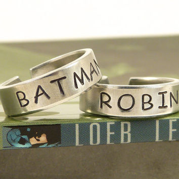 Batman and Robin Ring Set  Best Friends  by fromtheinternet
