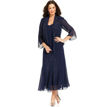 Navy Blue Mother Of The Bride Dress with Jacket Half Sleeve Beaded A-line Evening Party Gowns Tea Length Plus Size Elegant