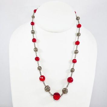 Christmas Red Glass & Silver Filigree Beaded Necklace, Red Faceted Beads, Single Strand, Vintage 1930s 1940s, Late Art Deco Era Bead Jewelry