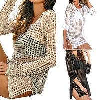 Mesh Knitted Crochet Swimsuit Beach Cover Up