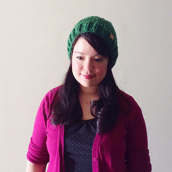 Classic fit - Solid color custom chunky knit hat -  made with Emerald Green 100 % Peruvian highland wool