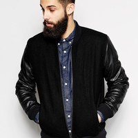 ASOS Wool Bomber Jacket With Leather Look Sleeves
