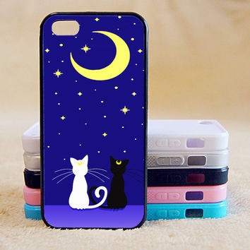 Sailor Moon, Luna and Artemis Cat, Custom Case, iPhone 4/4s/5/5s/5C, Samsung Galaxy S2/S3/S4/S5/Note 2/3, Htc One S/M7/M8, Moto G/X