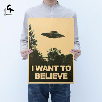 CREATE&RECREATE Kraft Paper Wall Art Painting Vintage I Want To Believe Posters And Prints Decoration Pictures CR18203120015