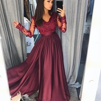 Prom Dresses with Sleeves Prom Dress Evening Dresses, Formal Dresses Graduation Party Dresses Banquet Gown