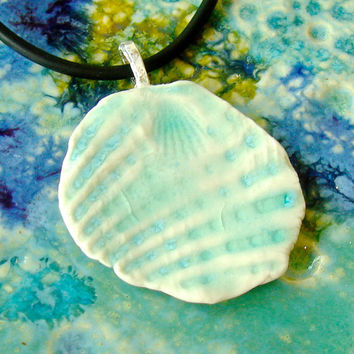 Turquoise Aqua seashell pendant, ceramic pendant, pottery jewelry, ceramic necklace, bridesmaid favor, beach wedding pendant