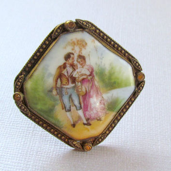 Antique Victorian Porcelain Brooch Courting Couple Czech Pin