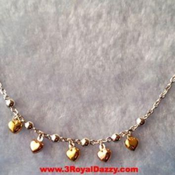 14k Rose, Yellow, White Gold Layer on 925 Sterling Silver Cute Hearts Necklace