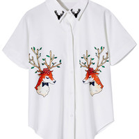 ROMWE Elk Print Short-sleeved White Shirt