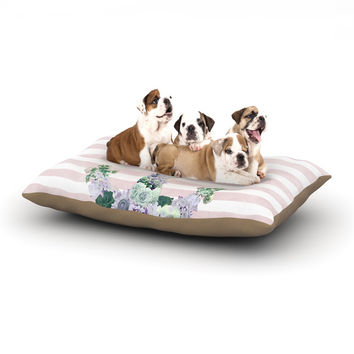 "Nika Martinez ""Floral Anchor"" Pink Stripes Dog Bed"