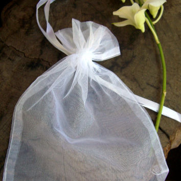 "100pc White Sheer Organza Favor Gift Bags 4"" x 5"" For party / wedding / gifts / jewelry"