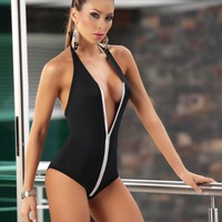 Black Zipper Front One Piece Swimsuit Swimwear (Many colors available)