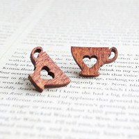 Tea Lover Stud Earrings, Tea Cup, Wooden, Nickel Free