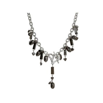 bulk buys Michele Caruso Black Metallic Bead and Heart Necklace Pack of 4