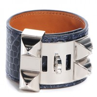HERMES Shiny Alligator Collier De Chien CDC Bracelet Small Bleu Abysse NEW