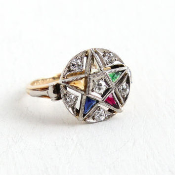 Vintage 14K Yellow & White Gold Order of the Eastern Star 1/4 CTW Diamond Ring - Size 6 1/2 Masonic Created Gemstone PSCO Fine Jewelry, 1942