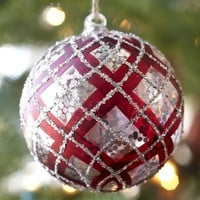 Plaid Sphere Ornament