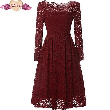 Summer Women Crochet Lace Dress Retro Tunic Vintage Dress Elegant 50s 60s Rockabilly Party Dresses Big Swing Vestido de festa