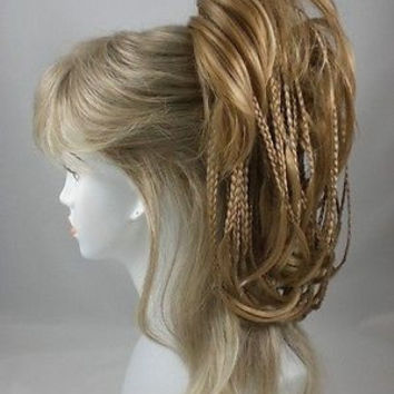 Brown Ponytail mixed w/tiny braids - Bonbon Hair Piece