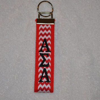 Alpha Sigma Alpha Sorority (OFFICIAL LICENSED PRODUCT)  Monogrammed Key Fob Keychain Cotton Webbing Ribbon Wristlet