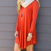 Plain Loose Asymmetrical Dress