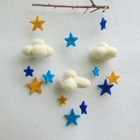 Felt Star mobile Baby Boy Mobile Ceiling Mobile Felt Cloud blue yellow turquoise Mobile Nursery decor Star children's decor Nursery room
