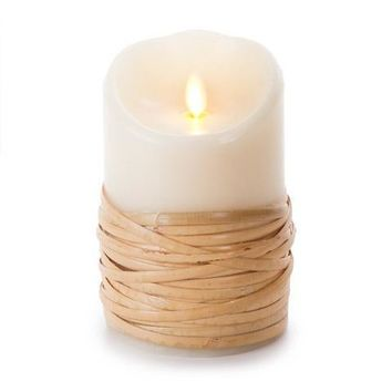 """Luminara 5"""" Reed-Wrapped Flameless Candle - Unscented"""