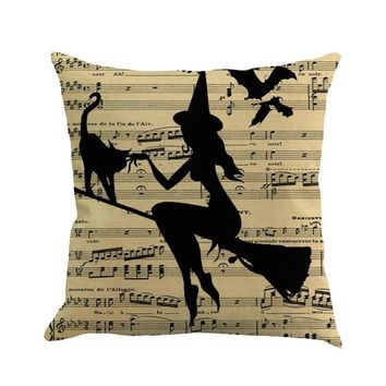 Witch Wizard Halloween Decorative Cushion Cover Letter Print I love Halloween Pumpkin Face Magic Sorcery Pillow Cases      Aug16