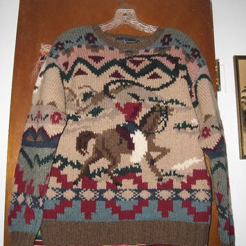 Mens Vintage Ralph Lauren Cowboy on Horse Lasso Western Wool Sweater M Hand Knit