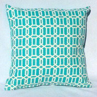 Aqua Blue and White Lattice Print Throw Pillow, 14x14, Dorm Decor – Pillow Insert Included