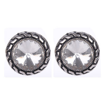 Crystal Clip Earrings For Women Fashion Clear Blue Pink Color Imitation Gemstone Silver Plated Clip On Earrings 2015 New Jewelry
