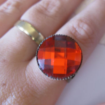 Red resin ring,red cabochon ring