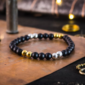 6mm - Matte black onyx beaded stretchy bracelet with gold & silver accents, made to order yoga bracelet, mens bracelet, womens bracelet