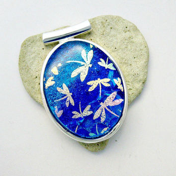 Fused Dichroic Glass Pendant - Dichroic Dragonflies In Flight