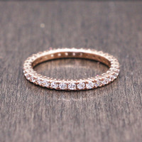 925 sterling silver rose gold plated pave cubic zirconia ring / band