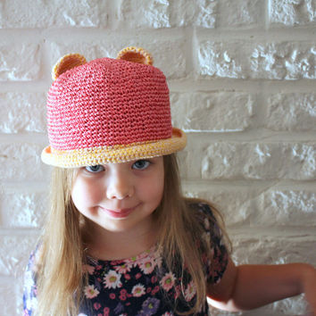 Crochet Raffia hat girls, Summer cat hat, Bear ears hat, Animal hat, Pink and Yellow, Photo prop, Cotton hat toddler