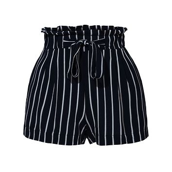 LE3NO Womens Stretchy Striped High Waisted Paperbag Short Pants