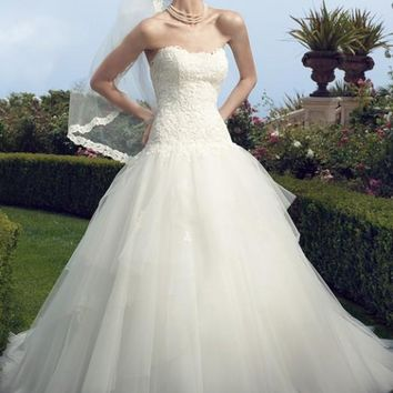 Casablanca Bridal 2160 Strapless Drop Waist Ball Gown Wedding Dress