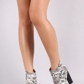 Qupid Python Pointy Toe Chunky Heeled Ankle Boots