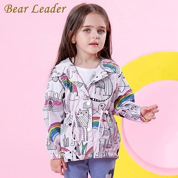 Girls Jackets New Autumn Children Coats For Girls Clothes Rainbow Printing Outerwear Hooded
