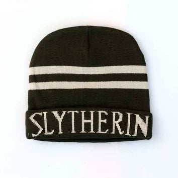 Harry Potter Slytherin Knitted Stripped Beanie Preppy Costume Halloween Christmas Gift Black & White Cuffed Skully Hat