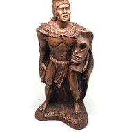 King Kamehameha Souvenir Statue / Made in Hawaii / Collectible Souvenir - Hapa Wood